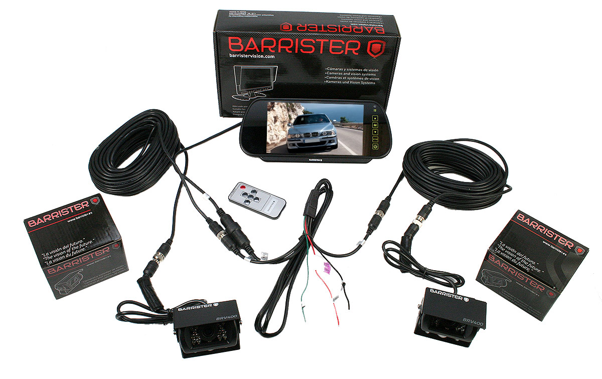 BARRISTER BRV-15-KIT2 Sistema retrovision Monitor BRV-515 Retrovisor 7 pulgadas 2 cámara BRV-400 x 2 cables10 metros cable alargador CA-10.