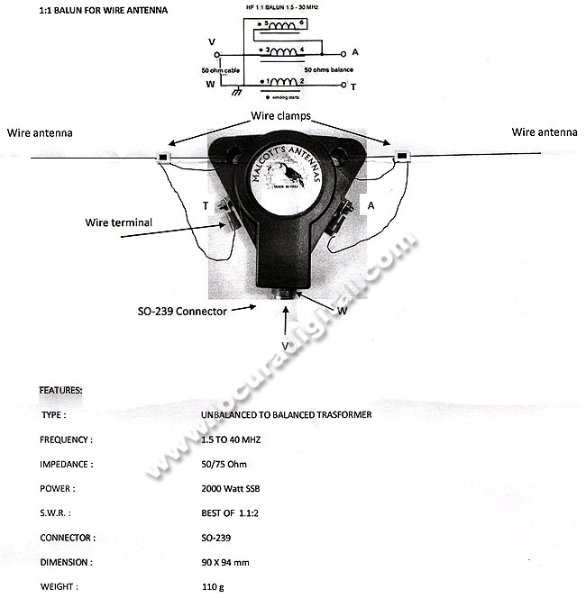 Balum'S MALCOTT BU11 1:1, freq. 1-40 MHz, 800 watt SSB, 50/75 ohms