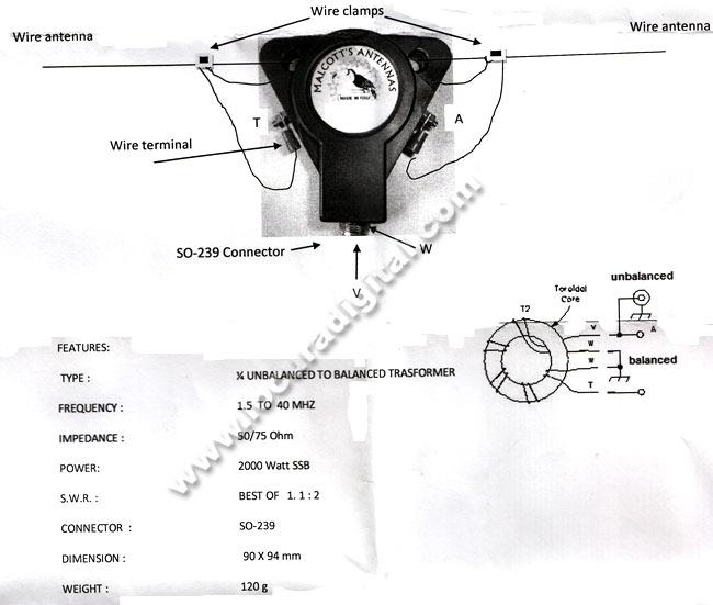MALCOTT Balum'S BU14 1:4, freq. 10-40 MHz, de 800 watts SSB, 50/75 ohms