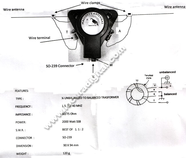 Balum'S MALCOTT BU14 1:4, freq. 1-40 MHz, 800 watt SSB, 50/75 ohms