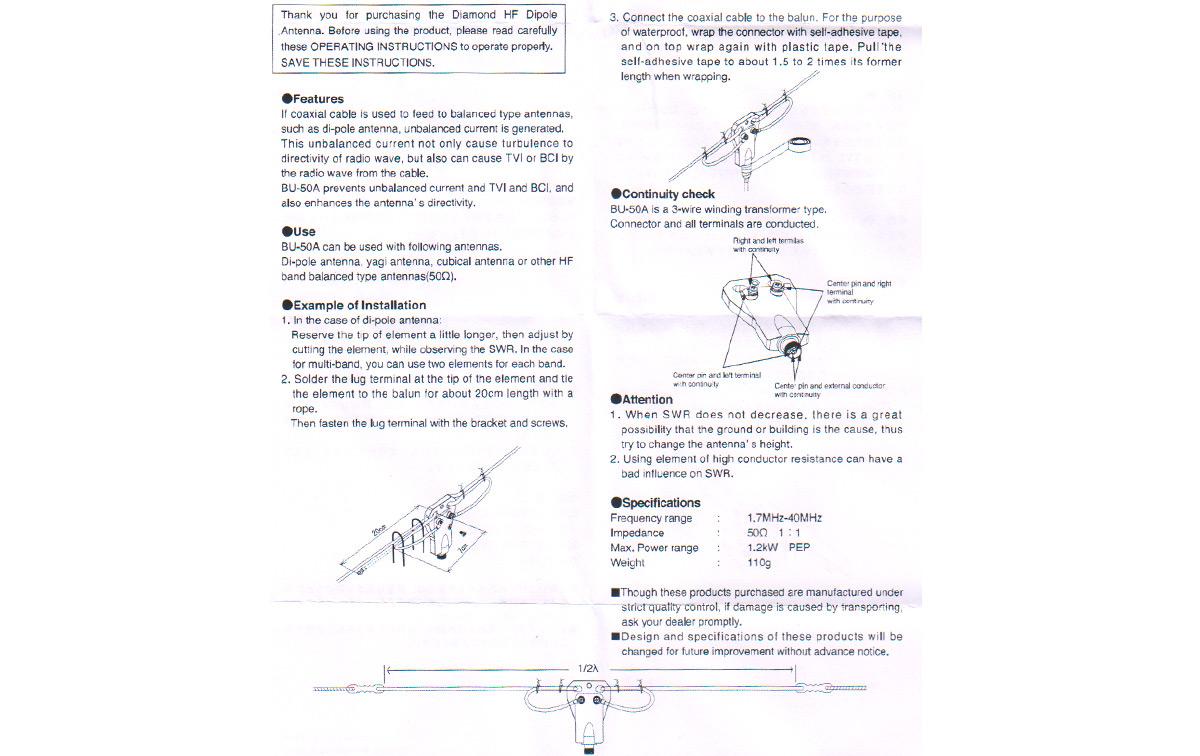 diamond bu-50a balun 1:1 de1,7 a 40 mhz y 50 ohms