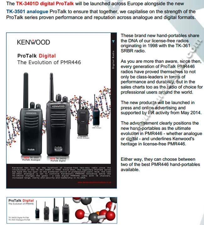 Digital y Analogico PMR446 incl. KNB45 precisa y KSC35SE