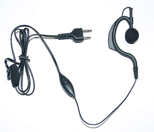 PIN19-T5 Flexible soft ear hook microphone, PTT button type. For MOTOROLA and COBRA handhelds.