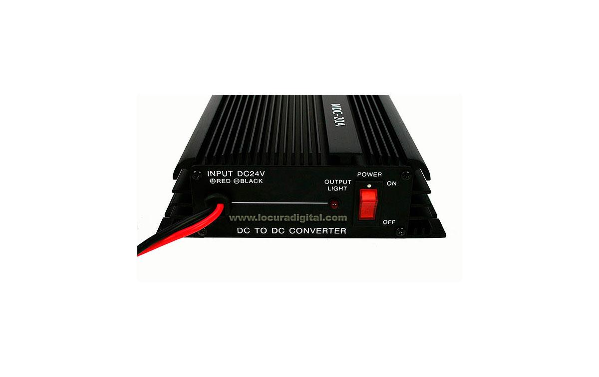 MDC20A HOXIN Conversor DC-DC. Reductor de tensión 24 - 12 voltios 20 amperios. Tecnología lineal de alta calidad muy resistente.
