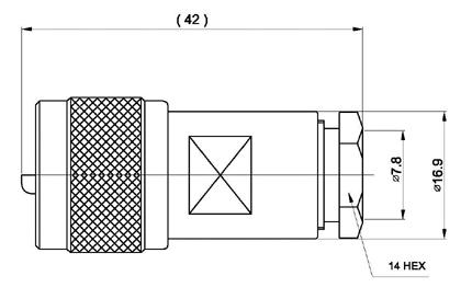 CON02076142 MARCU Conector PL MACHO Aéreo soldar.Para cable RF 287 UF, para cables diametros 7,3 mm vivo 1,9 mm