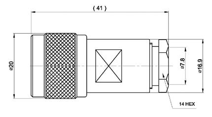 CON02080002 MARCU Conector N- MACHO Aéreo soldar.Para cable RF-287 UF, para cables diametros 7,3 mm vivo 1,9 mm