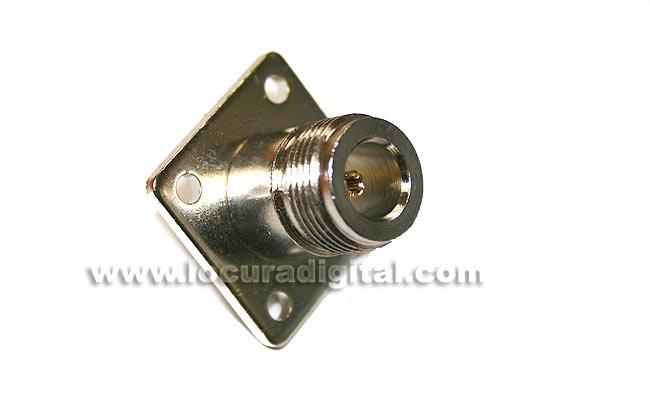 CON1435 Conector N hembra para chasis, fijación 4 tornillos