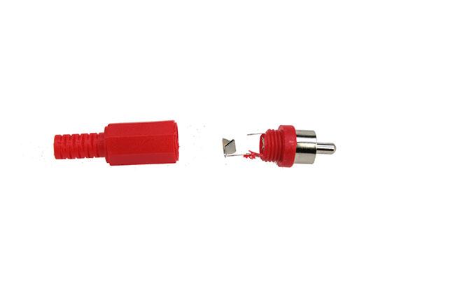 CON2073003 Conector RCA macho. Cubierta de plástico color ROJO