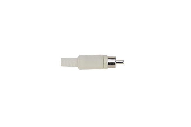 CON2073168 Conector RCA macho. Cubierta de plástico color BLANCO