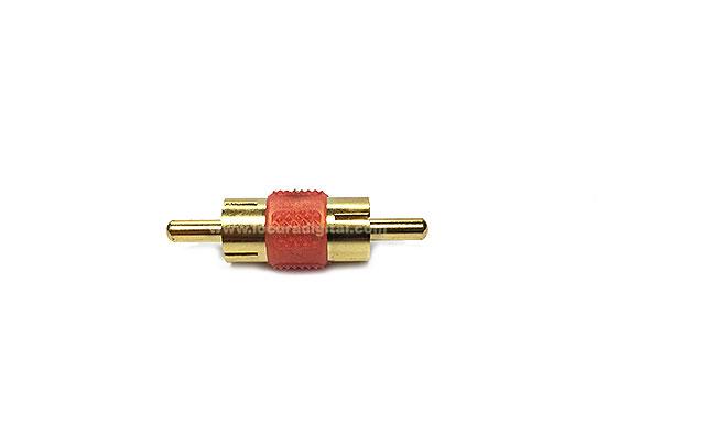 CON3916R Adaptador RCA Doble Macho dorado, Color Rojo