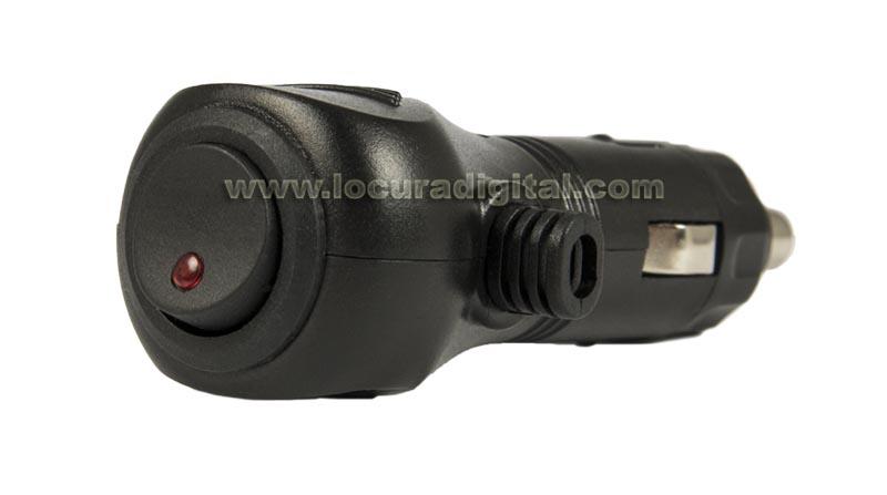 CONMECH3060 Conector de mechero acodado con fusible + led con interructor