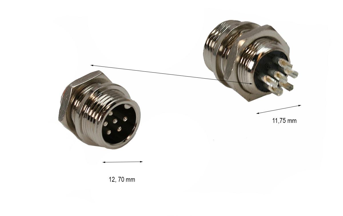 CONTH8600CH Conector chasi 6 pins para emisora TH8600 incluye tuerca.
