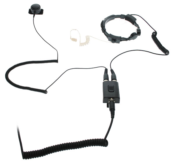 Nauzer PLX220-S. Professional throat activated microphone with double PTT button. For MIDLAND handhelds