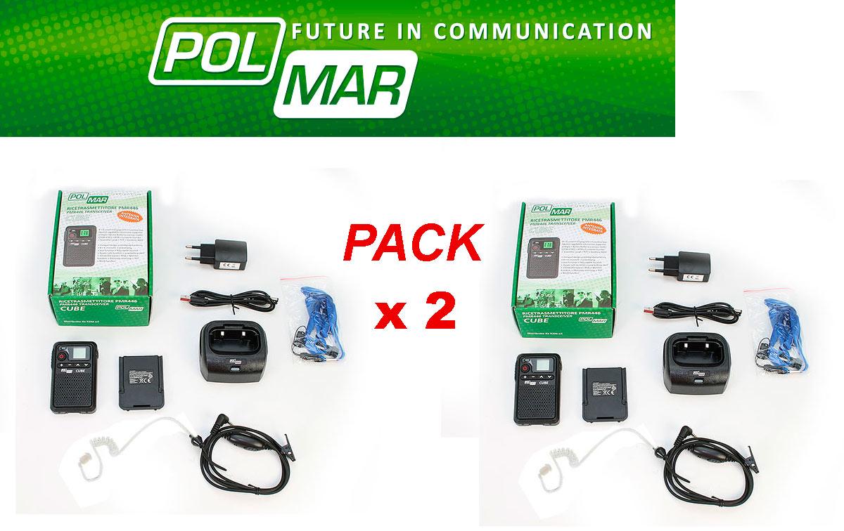 polmar cube walkie talkies pmr-446 uso libre 8 + 8 canales + 1 pinganillo tubular