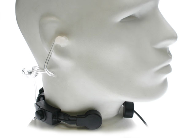 Nauzer PLX330-777. Professional throat activated microphone with large PTT button. For ALAN MIDLAND handhelds