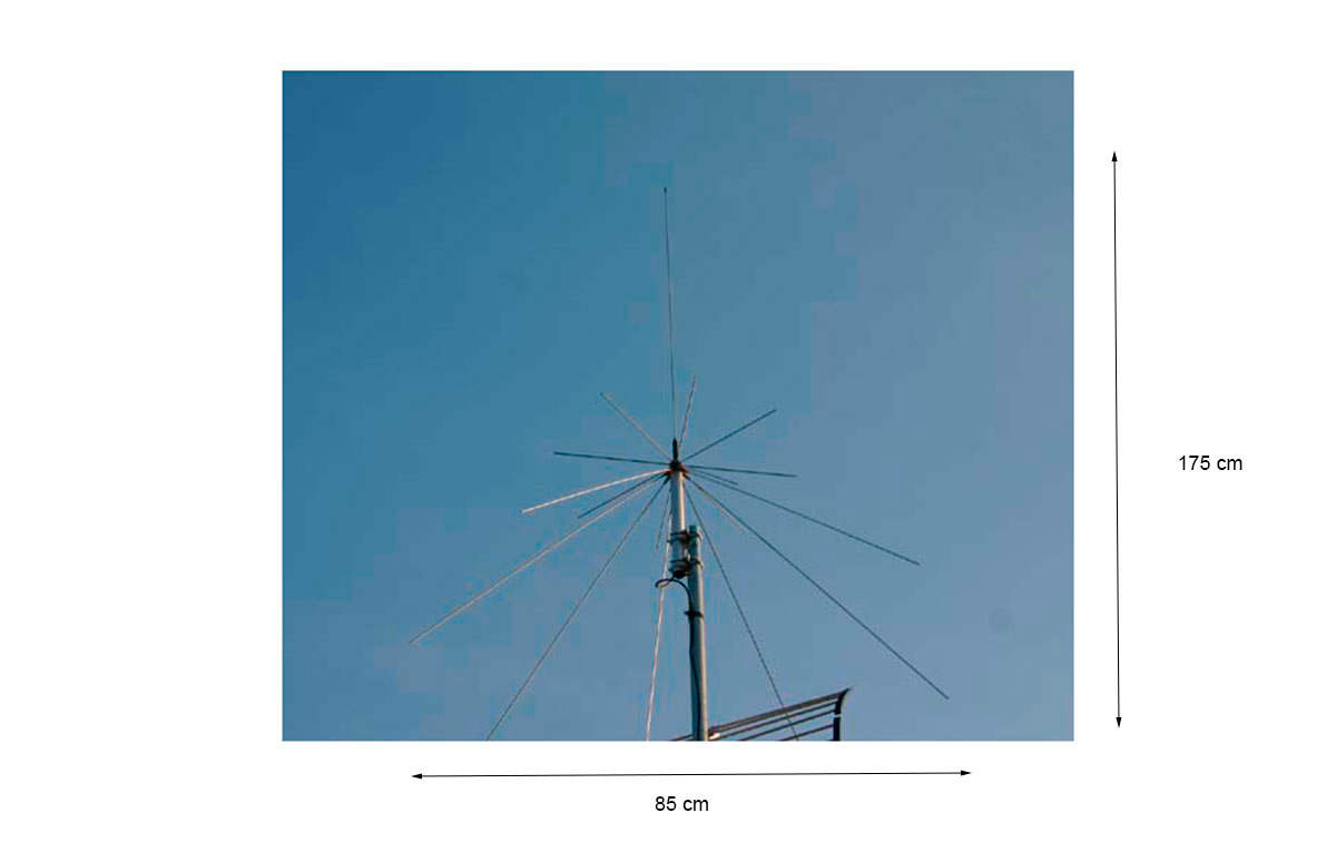 diamond d-130. antena especial para recepción de escaner, diseñada para recibir desde 25 - 1300 mhz . antena discono 25 mhz / 1300 mhz