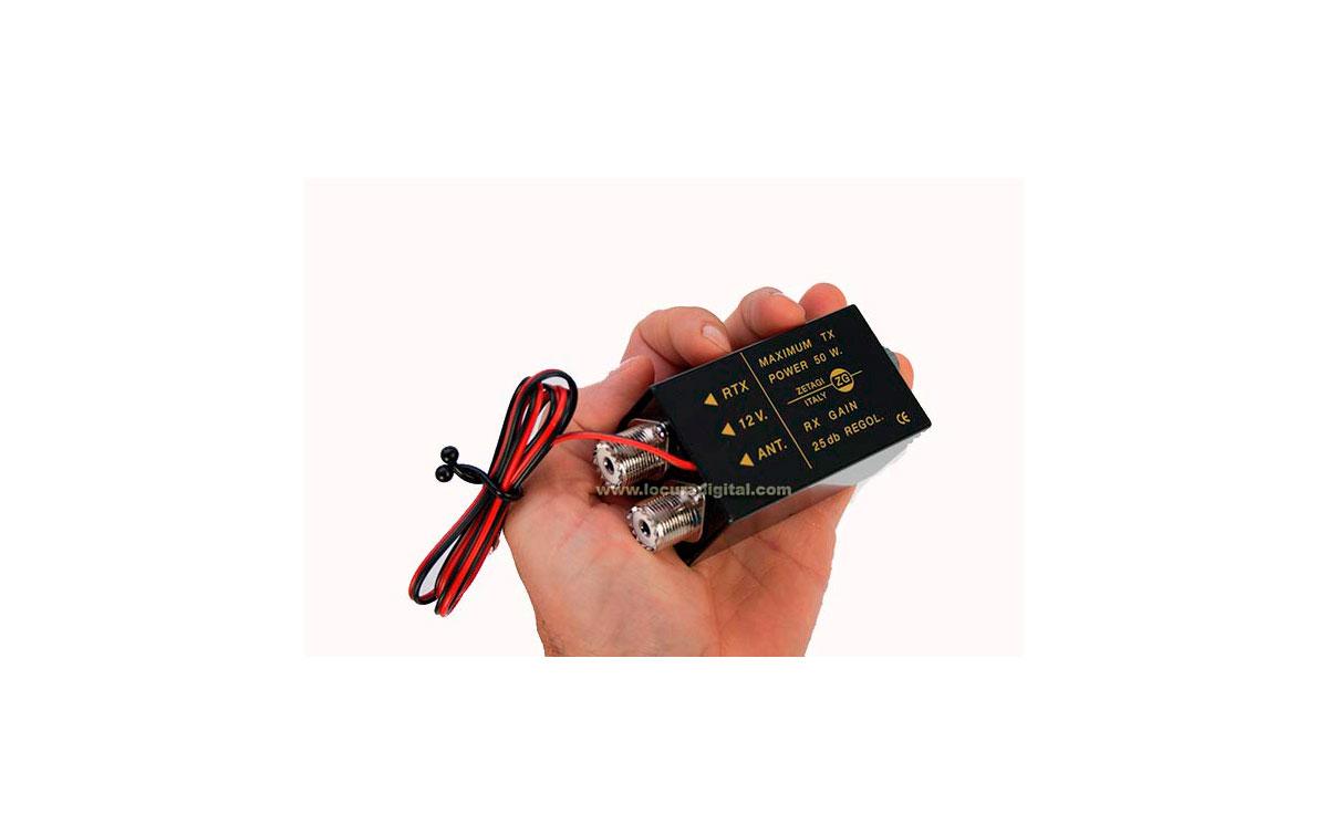 P27M ZETAGI Preamplificador de Antena CB 27 Mhz. Ganancia 25 dB regulable