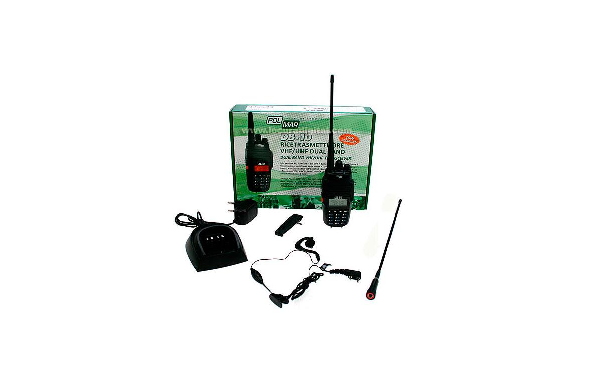 POLMAR DB10  Walkie Talkie Doble Banda 144/146 VHF- 430/440 UHF, ALTA POTENCIA: 10 watios