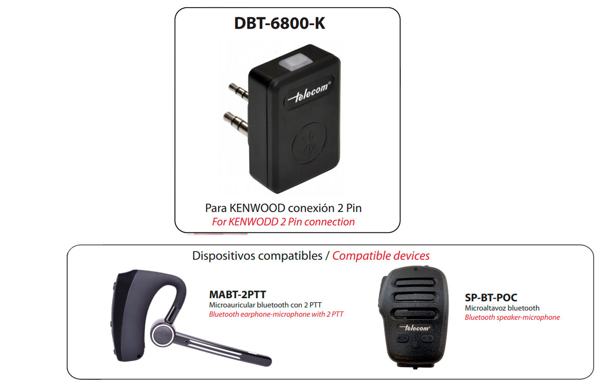 telecom dbt-6800k dongle bluetooth sp-bt-poc/mabt-2ptt walkies kenwood