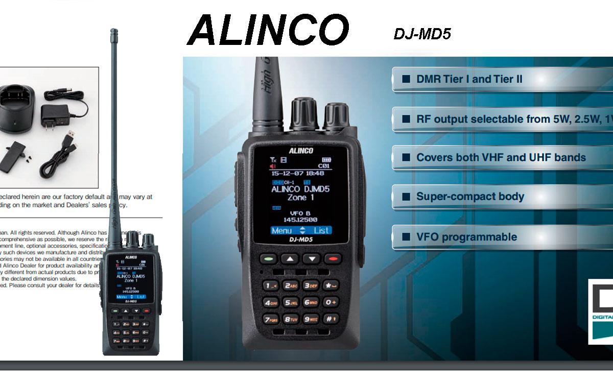 alinco djmd-5e walkie bibanda dmr vhf/uhf con gps con protocolo digital tier i y tier ii