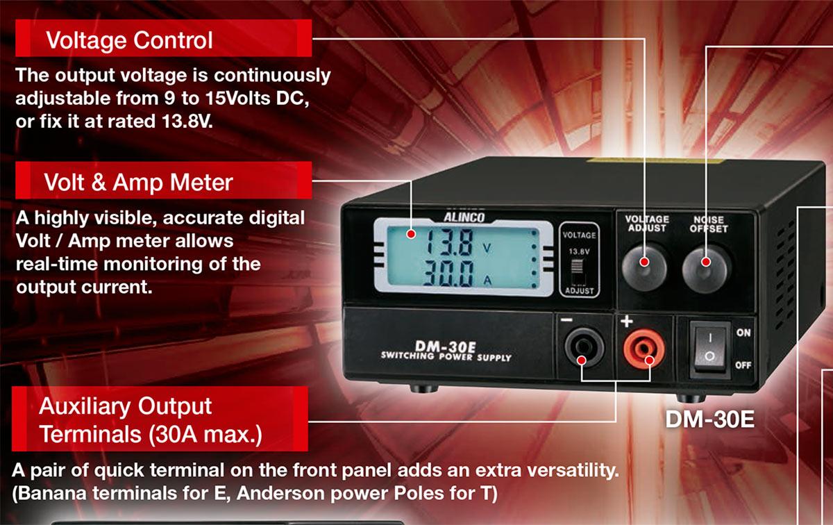 alinco dm30e fuente alimentacion conmutada 25a. regulable 9 a 15 voltios, con pantalla lcd, lectura de amperaje y voltage.