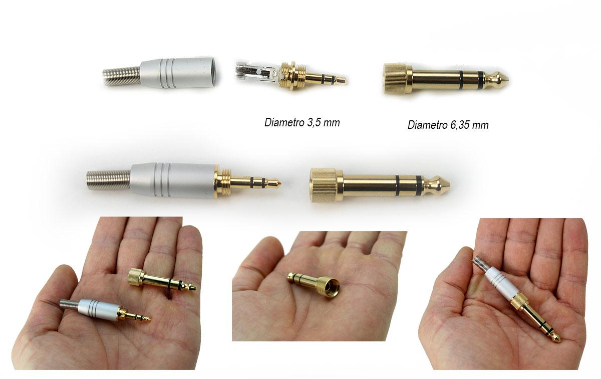 DOBLEJACK35635 Jack doble metálico de 3,5 mm y 6,35 mm. Las dos medidas en un solo conector