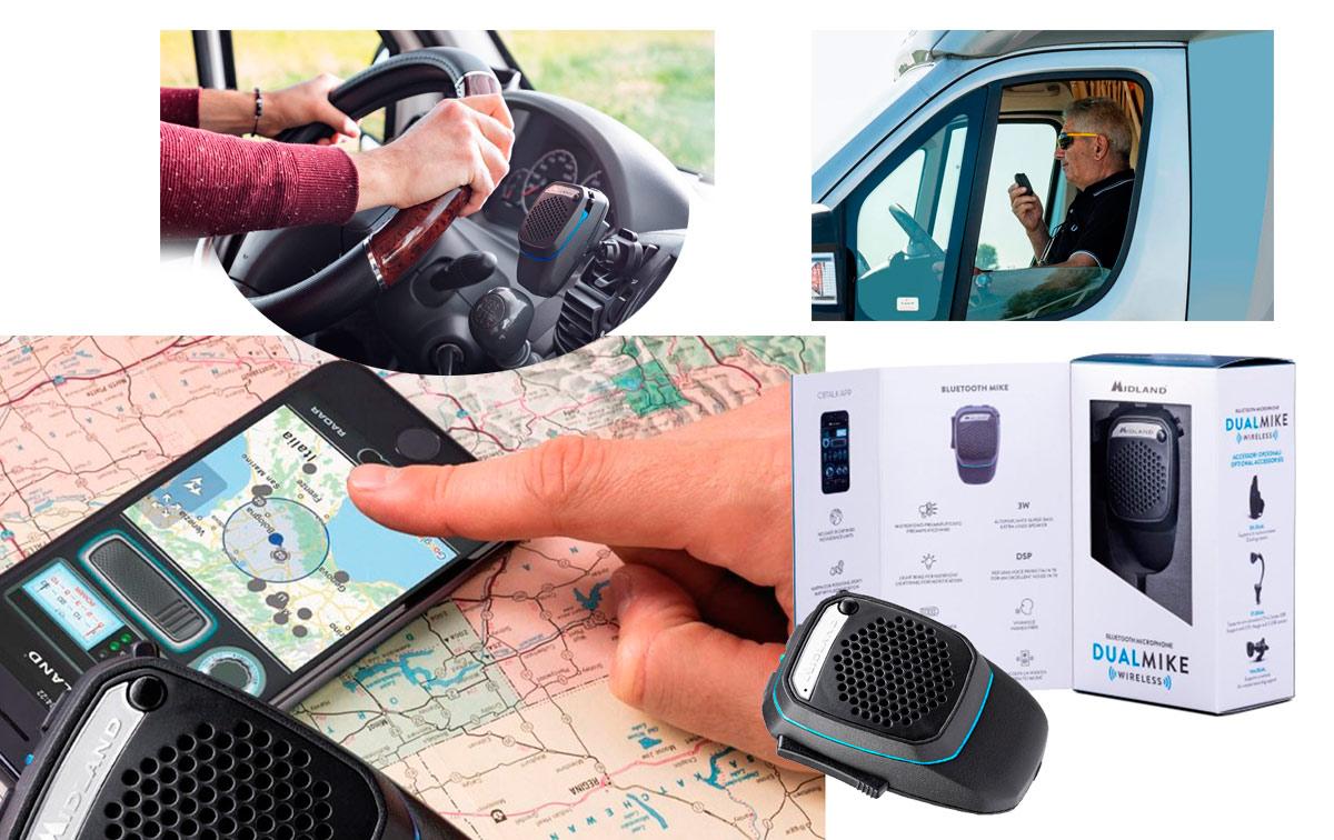 MIDLAND DUAL MIKE WIRELESS Micrófono inalámbrico dual CB+Bluetooth para smartphone