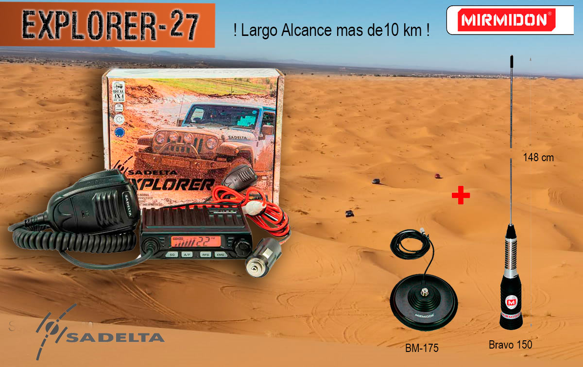 sadelta explorer-27 kit bravo magnetica 175 emisora cb 27 mhz canales 40 am / fm