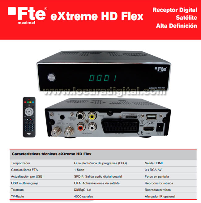 exhdflex fte extreme hd flex receptor satélite hd-12 y 220 volts