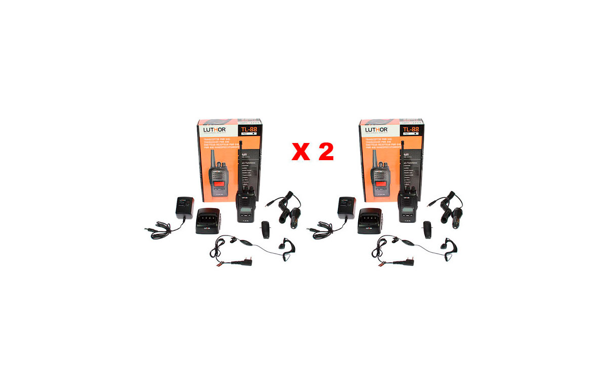 LUTHOR TL88 KIT2 PACK OF TWO PROFESSIONAL PMR 446 HANDHELDS FOR FREE USE WITHOUT LICENSE. Two Rubber Earphone FOR FREE. NEW MODEL!!!