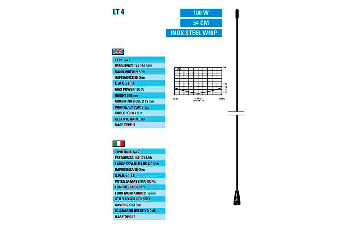 STILOLT4 SIRTEL varilla antena LT4 VHF, 144 a 174 Mhz. Color negro.
