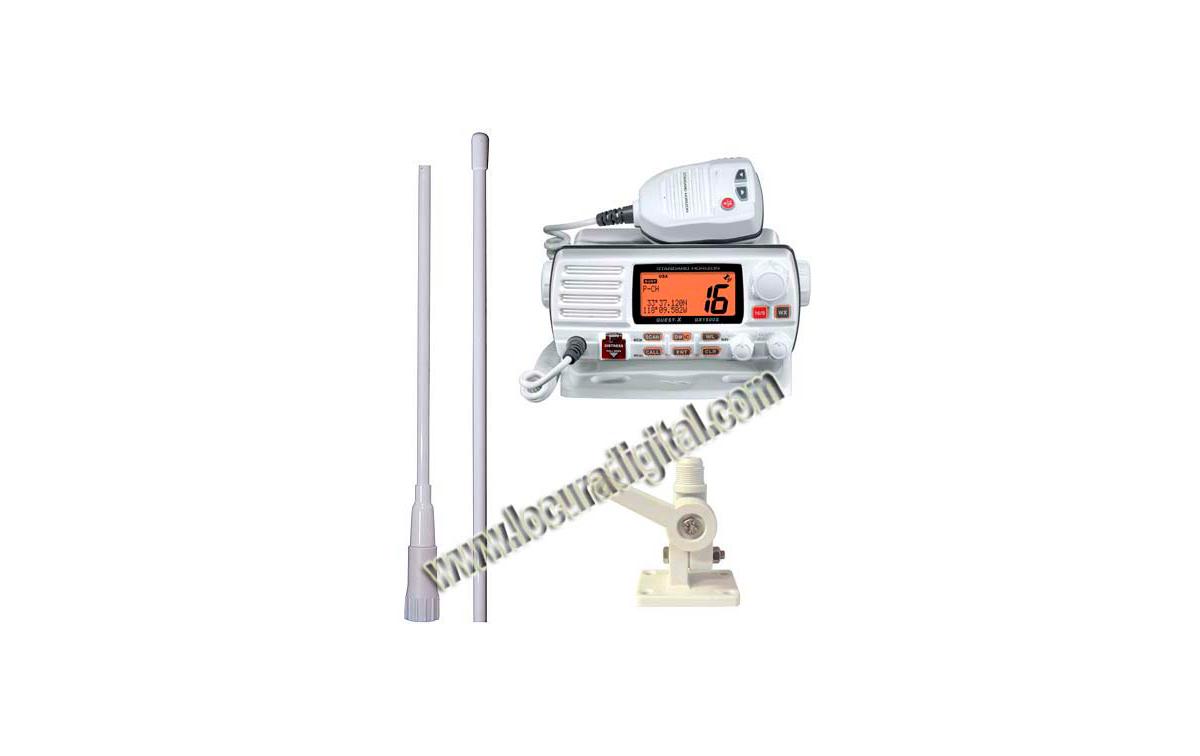 YAESU GX-1500e STANDARD HORIZON. Emisora Nautica. COLOR BLANCO. + Soporte RM1 + Antena MFV-5