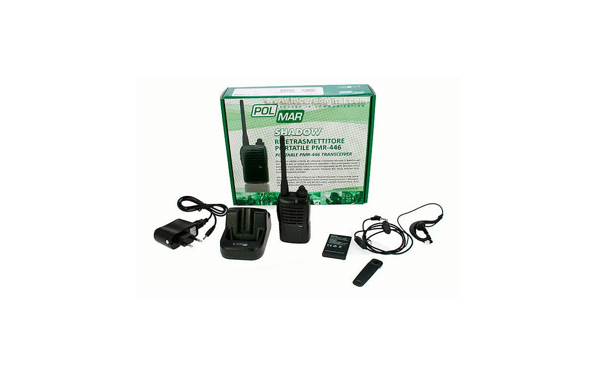 polmar shadow walkie de uso libre pmr 446 cargador bateria de litio. canales dispoibles 8 8. incluye pinganillo