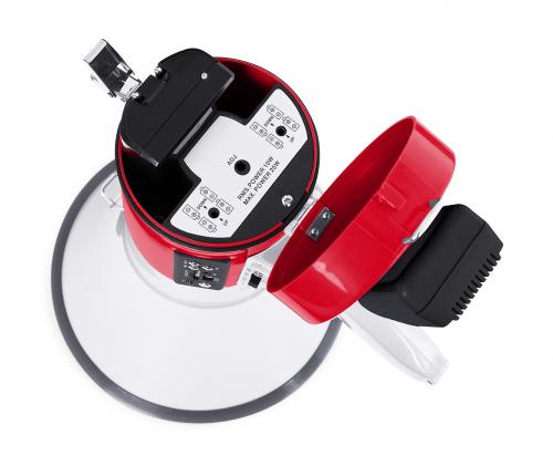 mf600sgu megafono fonestar 25 w max con sirena, con microfono de mano, reproductor usb/sd/mp3 y grabador de mensaje de 15', alimentacion mediante bat.li 1300 mah (incluida) recargable, 8 pilas lr14c o entrada 12 v (conector 5,5 x 2,1 mm)