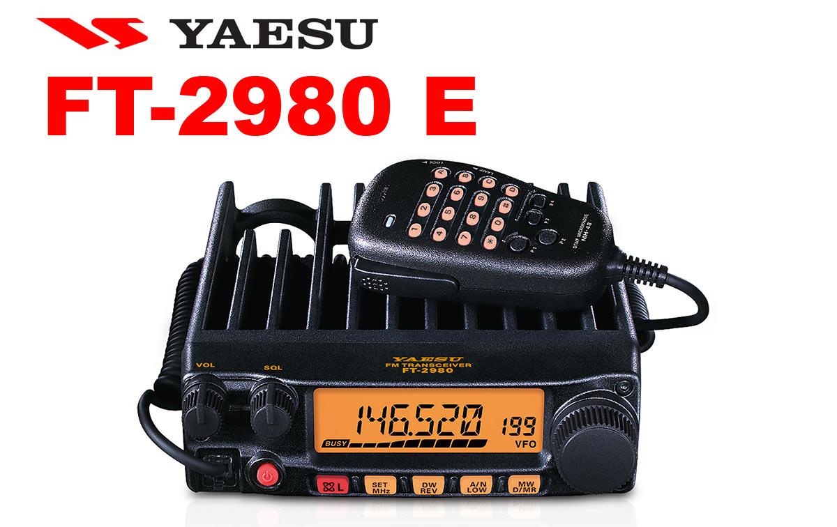 yaesu ft2980e emisora vhf 144 mhz potencia 80 watios de salida sin necesidad de ventilador refrigeración! se proporcionan cuatro niveles de salida de potencia seleccionables: 80/30/10/5 watts. la selección de potencia puede almacenarse en la memoria. la gran pantalla lcd retroiluminada de 6 dígitos en el ft-2980r garantiza una excelente visibilidad