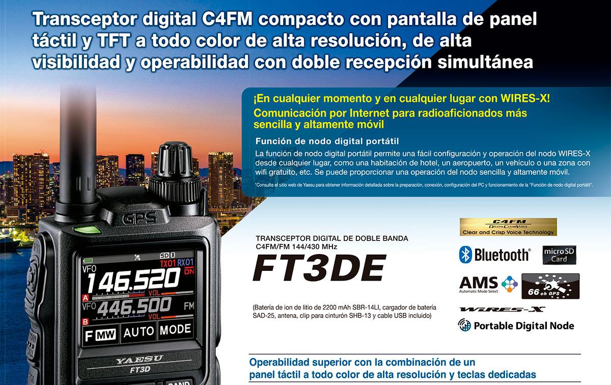 Yaesu FT-3DE Walkie talkie bibanda144 VHF/ 430 UHF, walkies digital FM compacto con pantalla tactil Y TFT a todo color de lata resolucion, alta visibilidad y operabilidad con doble recepcion simultanea.