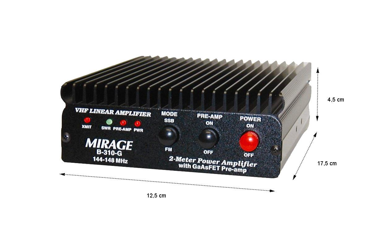 MIRAGE- G310G Amplificador VHF 100 Watios frecuencia 144-146 Mhz con transistores GaAsFET y preamplicador de antena.