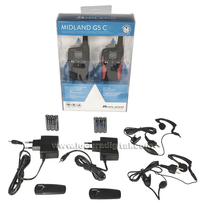 midland g 5c pareja de walkies uso libre pmr 446 dos pinganillos pin19 s