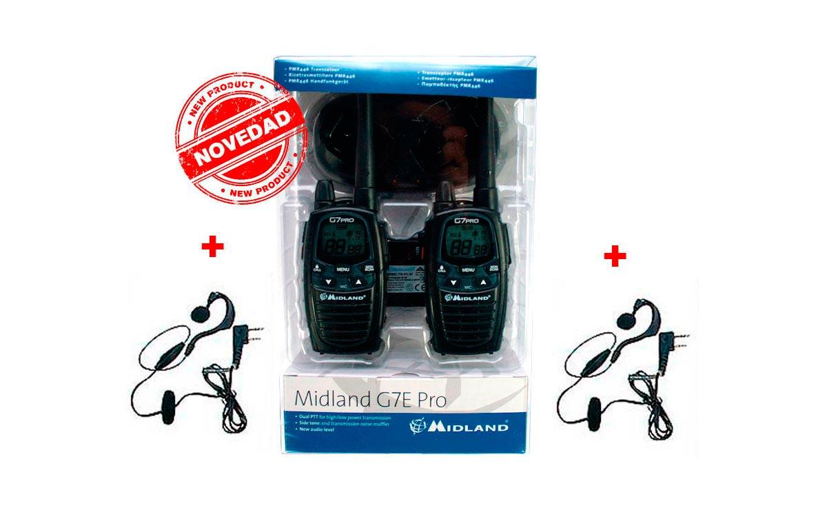 MIDLAND G7E-PRO PAREJA DE WALKIES DE USO LIBRE PMR 446  !! NUEVO MODELO  !!