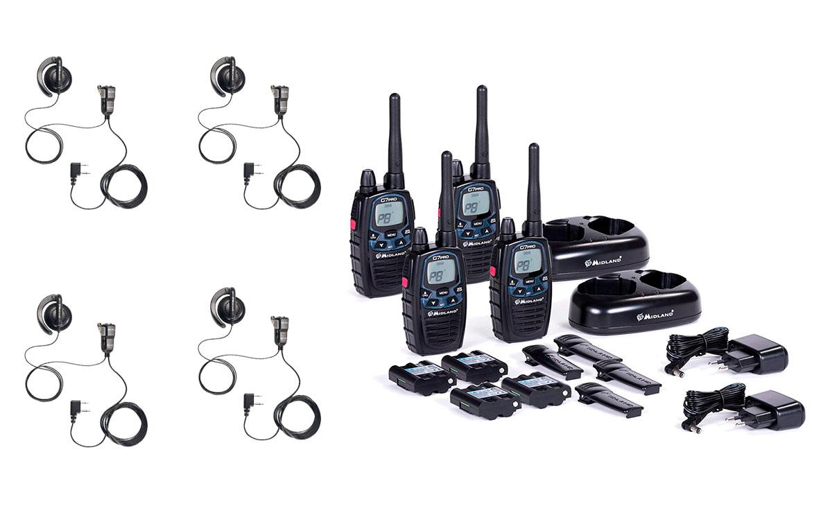 Midland G7 PRO WORK X-4 Pack 4 walkie talkies completo uso libre