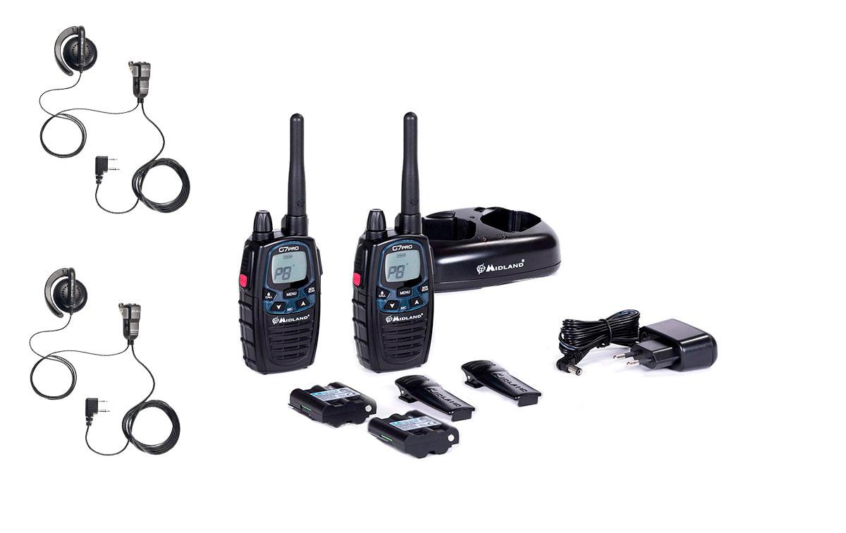 midland g7 pro pareja de walkie talkies completo uso libre pmr446