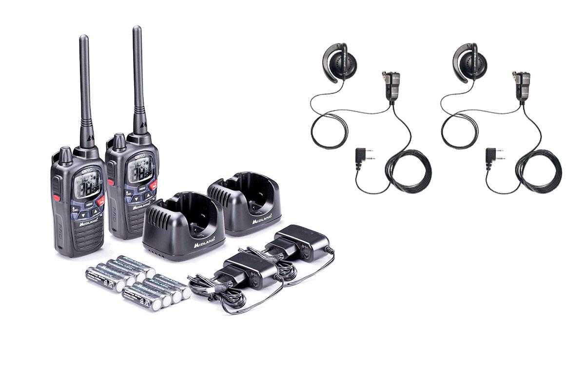 midland g9-pro work 2 pack 2 walkies talkies completos incluye 2 pinganillos midland ma-24l