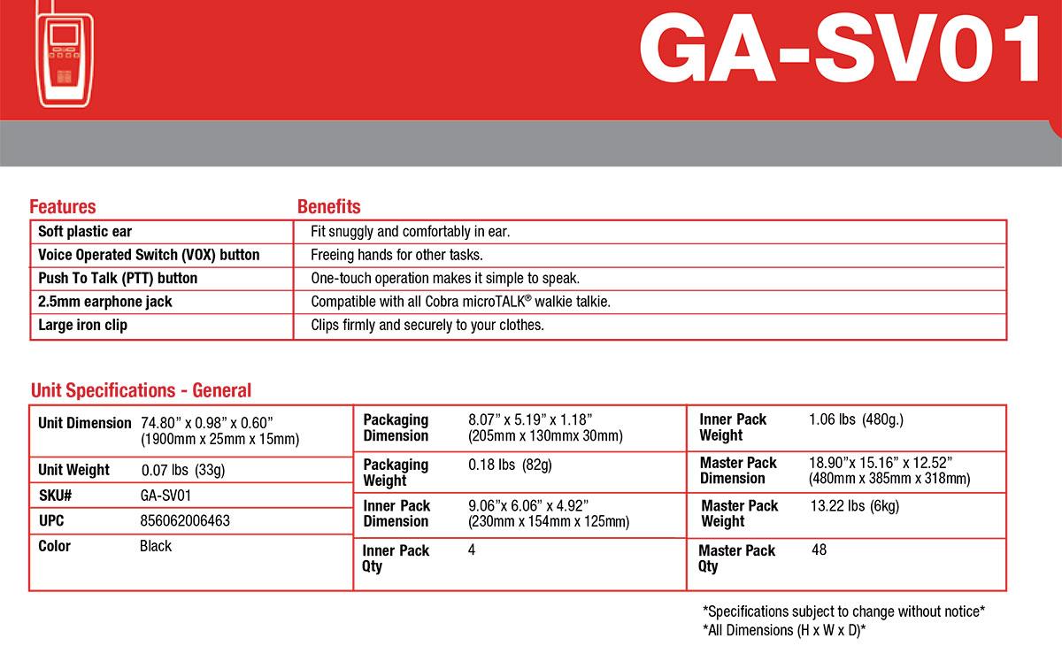 cobra ga-sv01 micro-auricular tubular con ptt especial para ambientes ruidosos, uso militar, seguridad o industrial.
