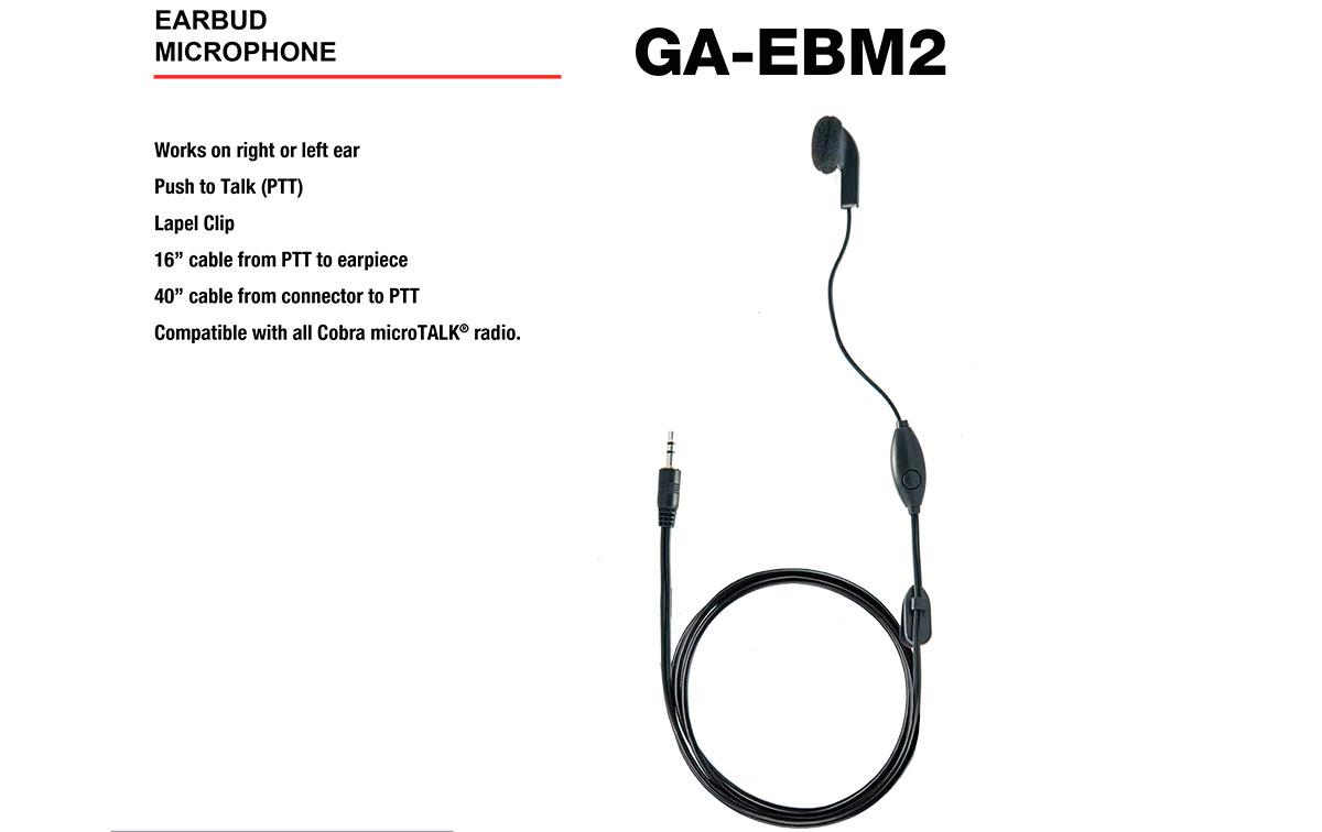 cobra ga-bm2 micro altavoz con sistema ptt tipo boton