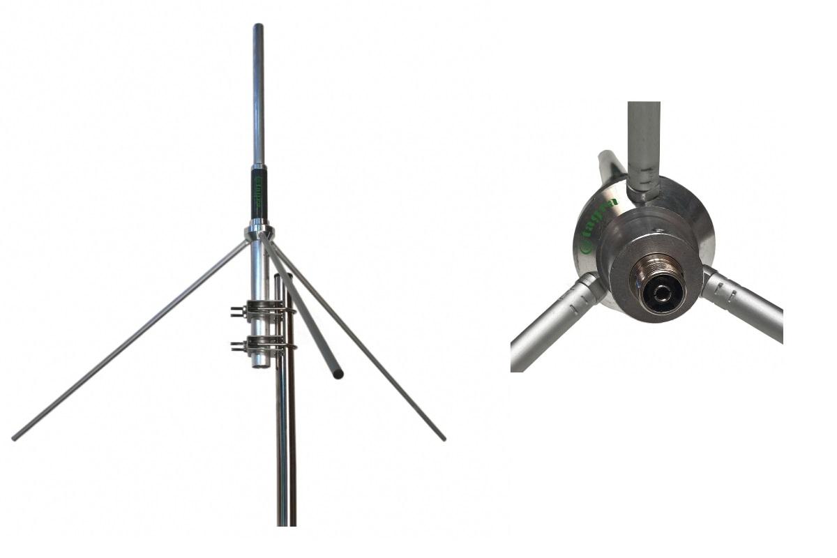 grauta. antena de base vhf gp144 5/8 frecuencia 136-174mhz, potencia 500w, ganancia 5,15 dbi, conector tipo pl. incluye 2 abrazaderas para sujetar a un mastil, para sujetar la antena sera necesario un mastil o tubo en vertical de 35 a 45 maximo milimetro de diametro.
