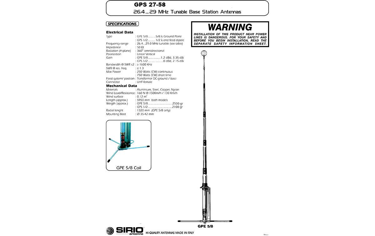 SIRIO GPE27 5/8. Antena CB 26-28 Mhz. 5/8 onda.