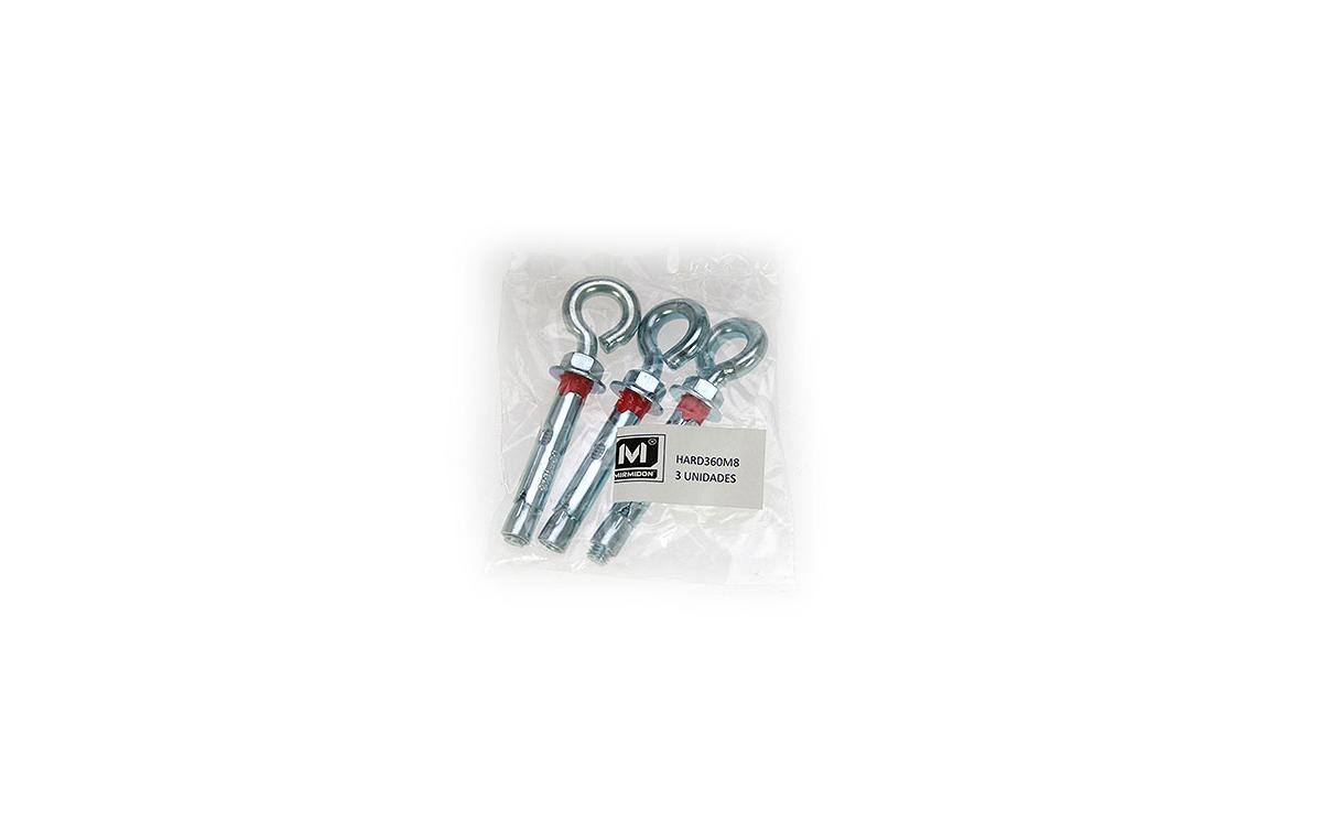 MIRMIDON HARD-360M8 Taco metálico con argolla. 8 mm. Ideal para su uso con los tensores de vientos o con el propio cable de viento directamente. -- BOLSA 3 UNIDADES -