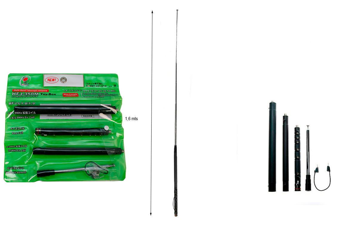 COMET HFJ-350M TOY BOX Antena telecópica portátil multibanda 10 bandas de HF