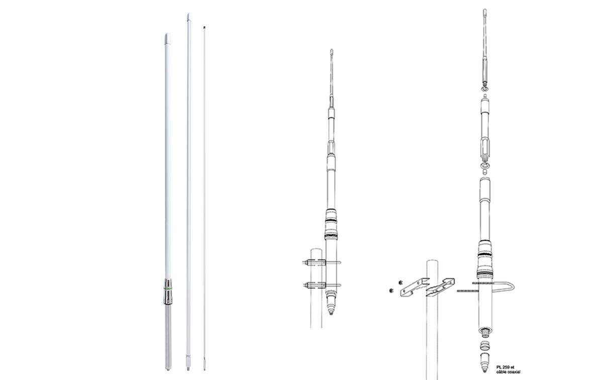 HIMALAYA WB PRESIDENT Antena 1/2 Onda CB-HF 22-30 Mhz FIBRA sin radiales