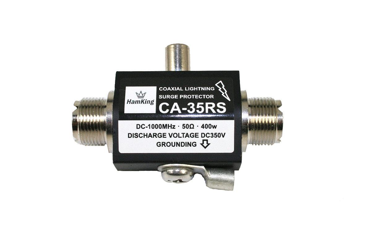 HKCA35RS HAMKING Protector coaxial de rayos DC a 1000Mhz max.400W. El protector de sobretensión coaxial para rayos HamKing HKCA-35R protege su valioso equipo de comunicación de los rayos.